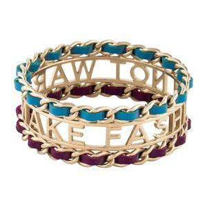 CHANEL Jewelry - CHANEL Runway Make Fashion Not War Gold Bangle